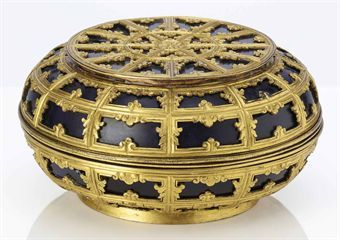 an_unusual_gilt_metal_mounted_blue_glass_circular_box_and_cover_qing_d_d5379619h