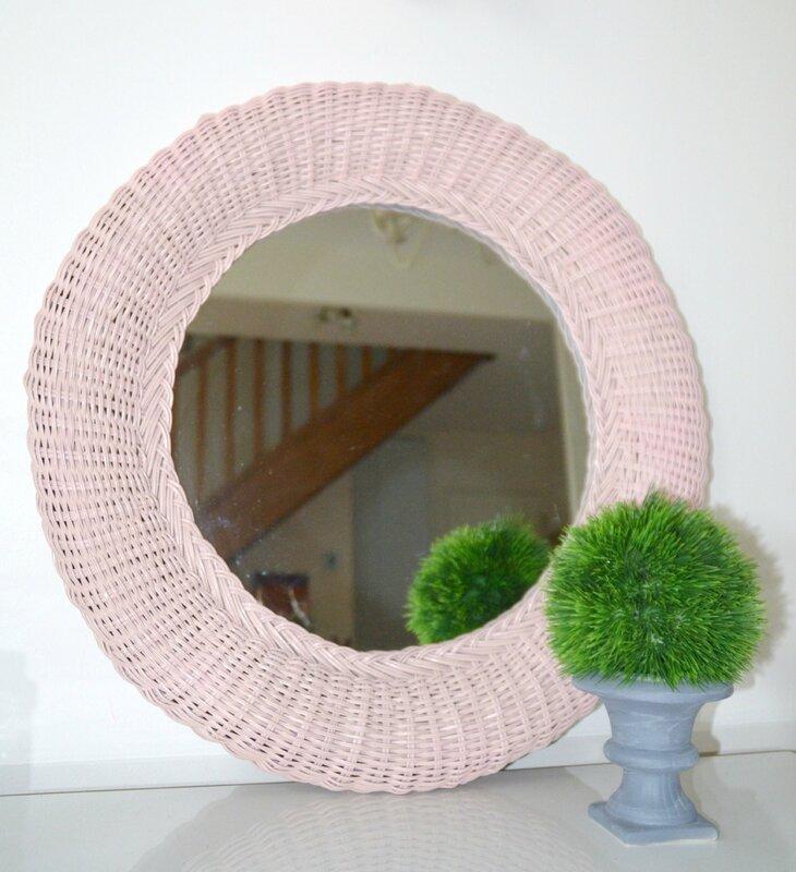 miroir rotin rose