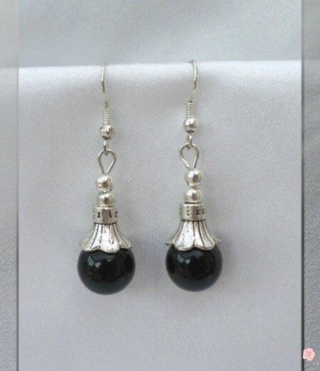 Boucles d'Oreilles Salka Style Tibétain Perle Jade Noir 10 mm Argent du Tibet