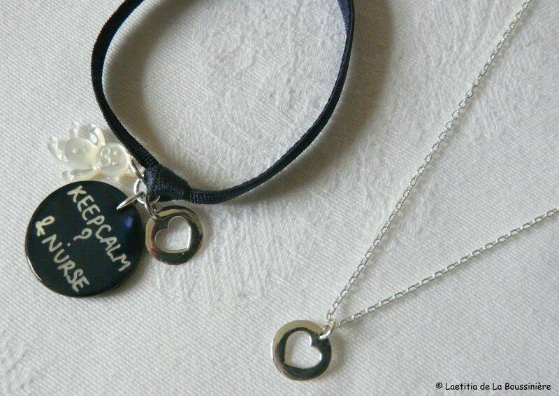 Bracelet d'allaitement et collier mini médaille coeur assorti