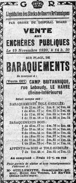 Le Havre 19 novembre 1920 France