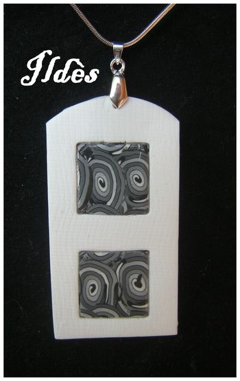 fimo pendentif rectangle spirale grise 2