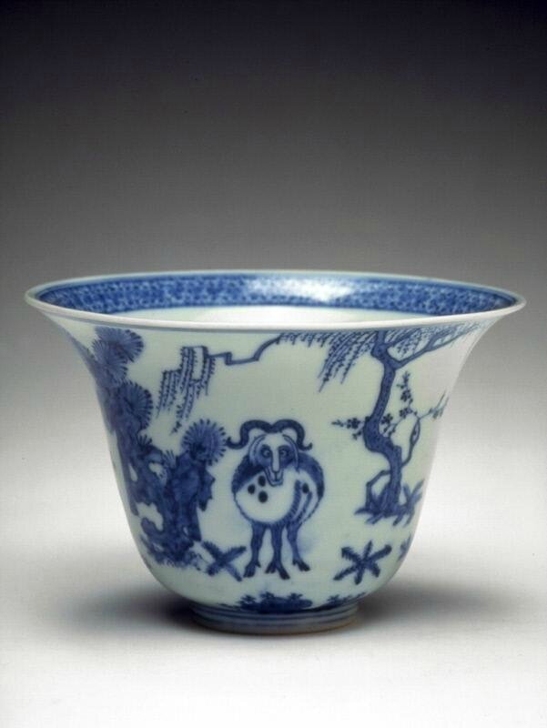 Deep cup with three goats, Ming dynasty (1368-1644), Reign of the Jiajing emperor (1522-1566)