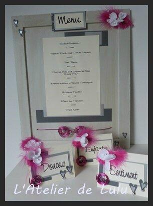 marque place et menu pour mariage personnalise