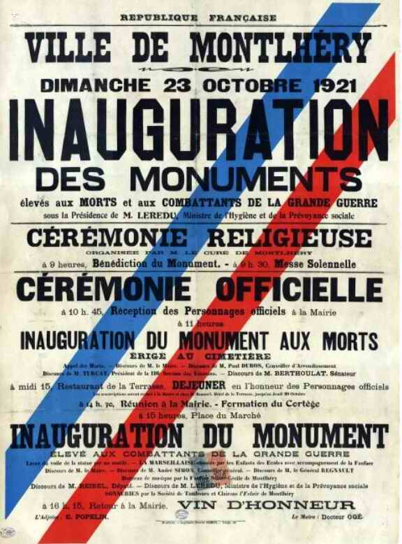 Affiche inauguration monum Montlhéry