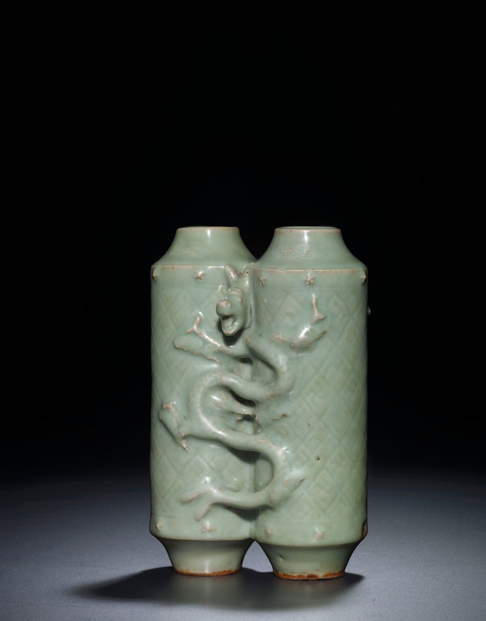 A rare Longquan celadon conjoined vase, Ming dynasty (1368-1644)