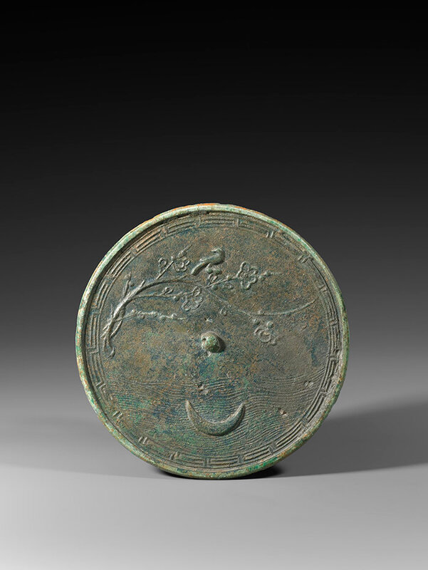 A large 'Moon and Prunus' bronze mirror, Southern Song Dynasty (1127-1279)
