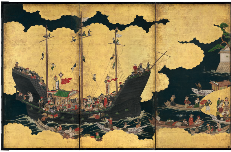 An important Nanban six-fold screen depicting the arrival of a Portuguese ship for trade, Edo period, 17th century 1