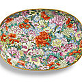 A finefamille-rose mille-fleurs tray, seal mark and period of qianlong (1736-1795)