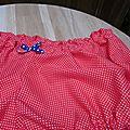 Culotte BIANCA en coton rouge à points blancs - noeud bleu à pois blancs (2)