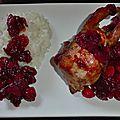 Cailles aux canneberges, sirop d'erable et cointreau
