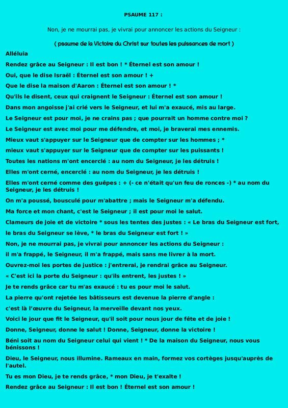 psaume 117 ( De la Victoire ) taille 2500