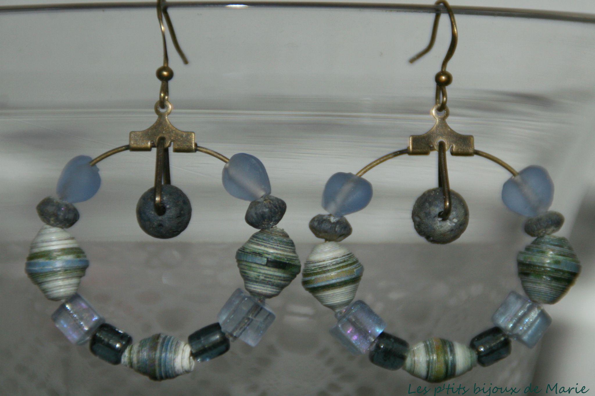 Boucles créoles perles papier