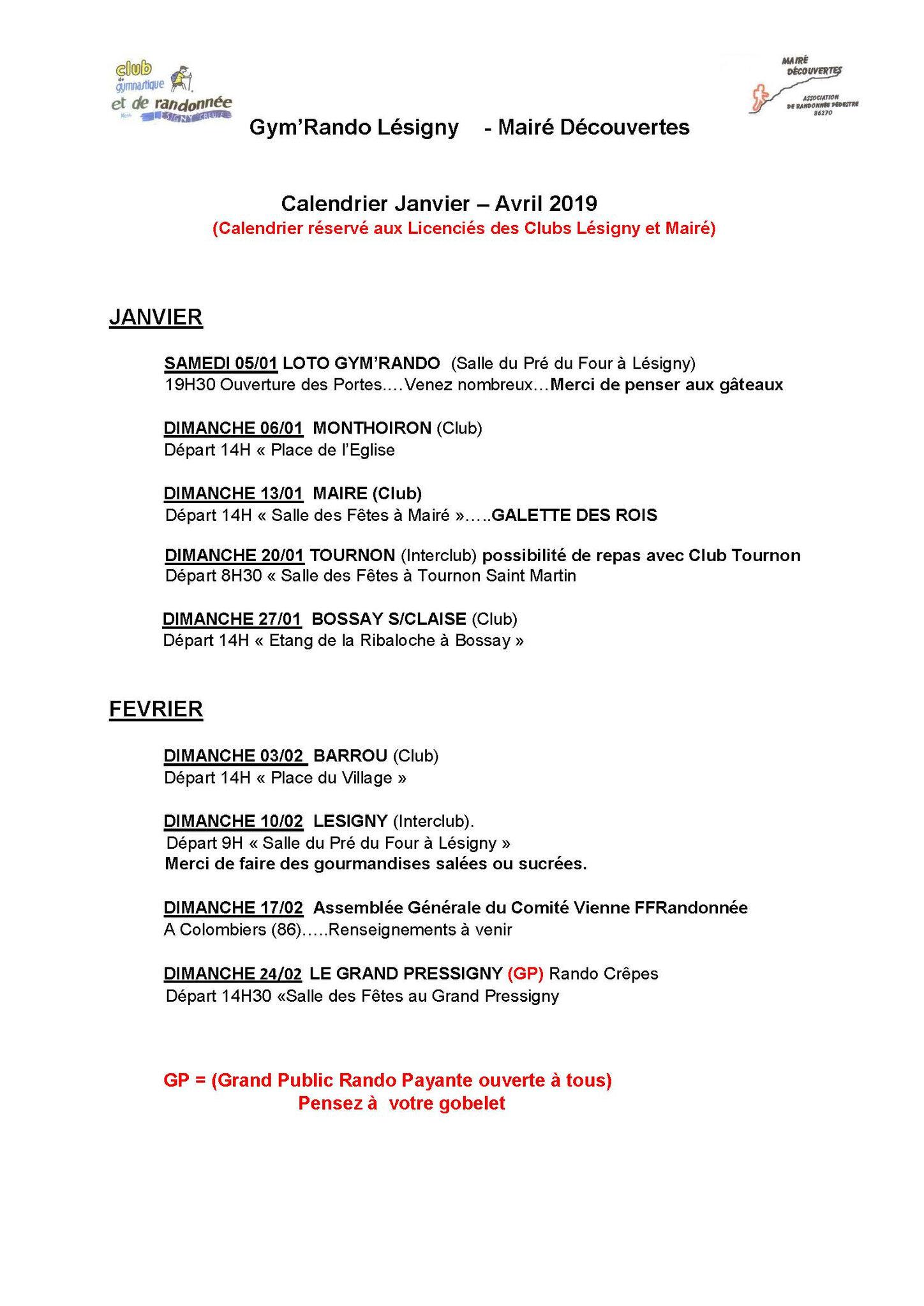 Calendrier Randonnée Pédestre Vienne 86 2021 Calendrier de Randonnées de Janvier à Avril 2019   Club de Gym