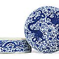 A rare blue and white 'Dragon and Lingzhi' circular box and cover, Mark and period of Wanli