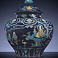 A large Ming Fahua baluster jar and cover, Guan, Ming Dynasty, First half 16th century