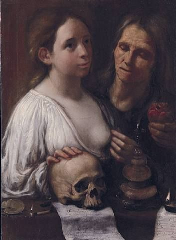 Onofrio Gabrielli, A Vanitas. Oil on oak panel, h: 68.5 x w: 49.5 cm / h: 27 x w: 19.5 in.