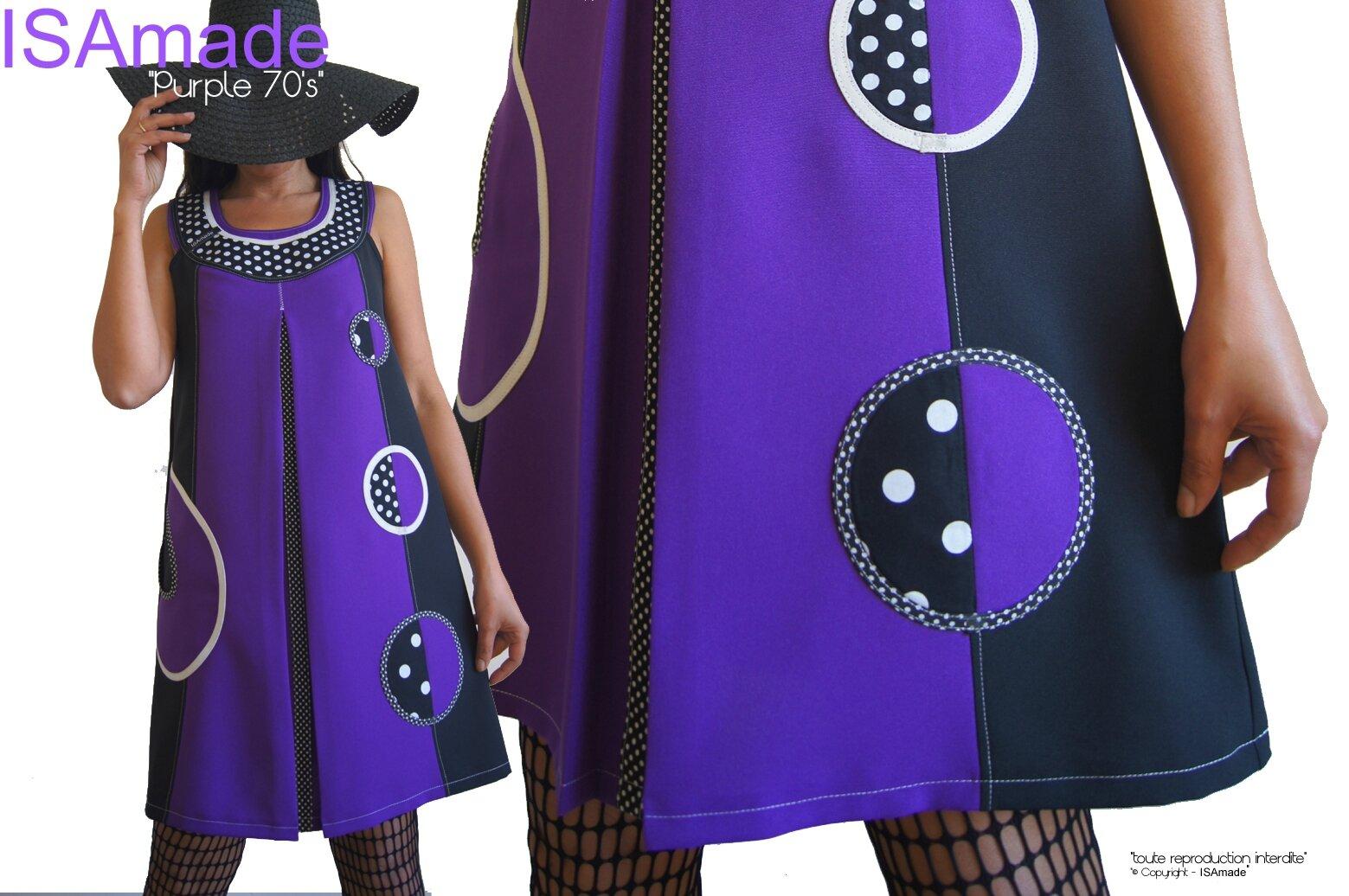 MOD 380C Robe Trapèze Noir Violet à pois Graphique Sixties