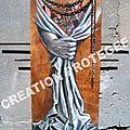 DELIVRANCE Peinture sur bois - Peinture drapé tissu inspiration baroque main Ghislaine Letourneur Technique mixte