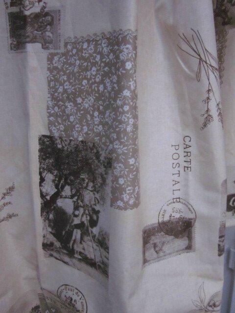 Ciré AGLAE en coton enduit écru impirmé cartes postales anciennes fermé par un noeud (7)
