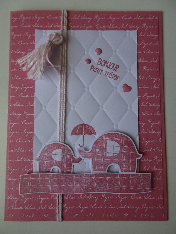 27 Carte Eléphants rose rococo