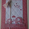 Carte éléphant rose rococo