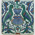 Tile, ottoman period, early 17th century, iznik, turkey