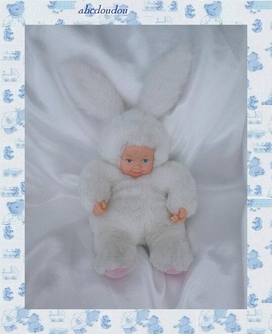 Doudou Bébé Déguisé En Lapin Blanc Peluche Anne Geddes