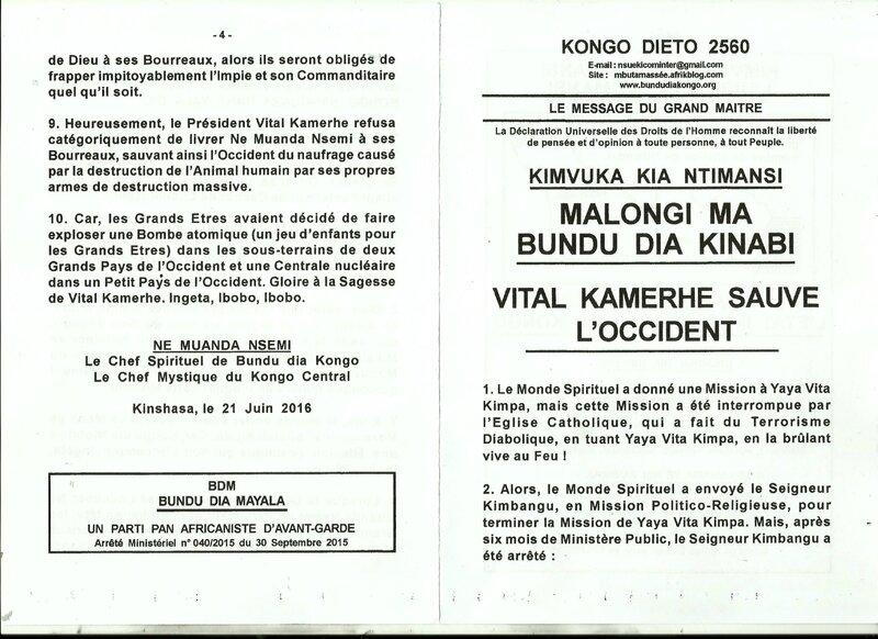 VITAL KAMERHE SAUVE L'OCCIDENT a