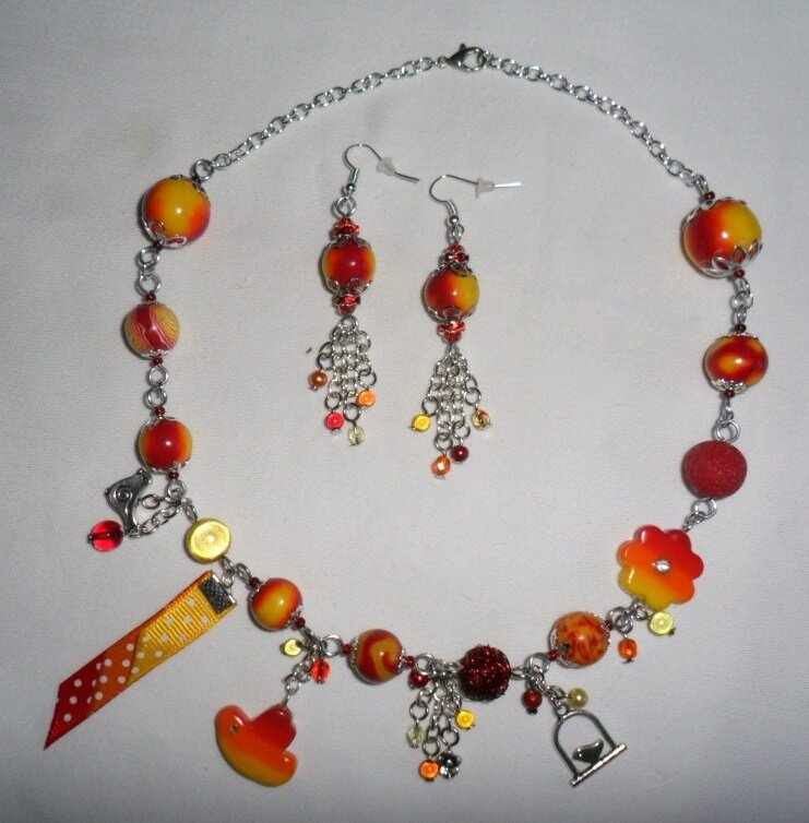 jaune orange rouge collier oiseau 1-6