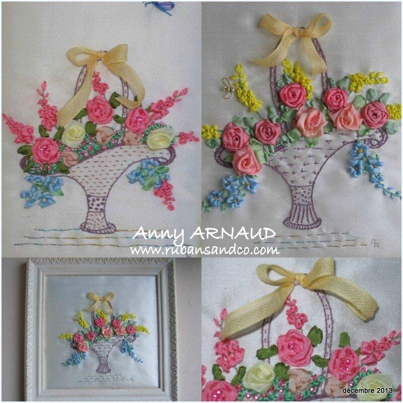 Corbeille de fleurs brodées