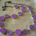 collier fleurs roses