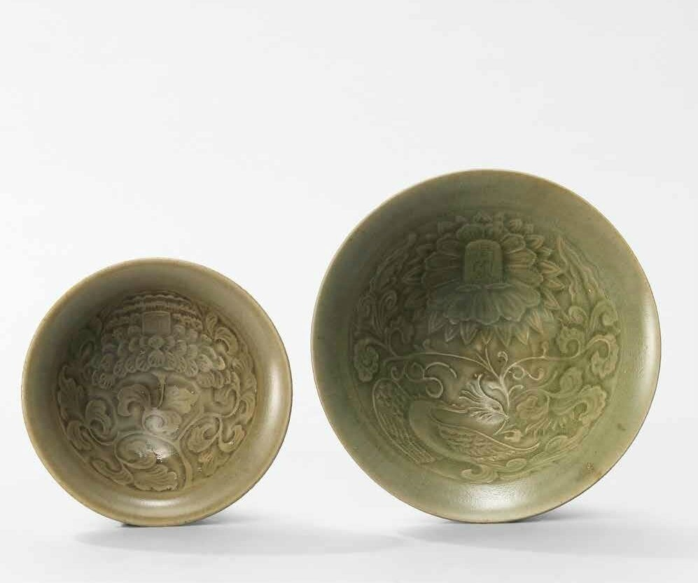 Two moulded and inscribed Yaozhou conical bowls, Northern Song dynasty (960-1127)