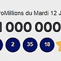 Les chiffres gagnants de euromillions mymillions mardi 12 janvier 2021