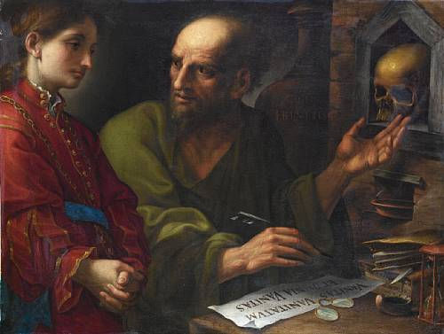 Pietro Muttoni, called della Vecchia (Venice circa 1602-1678), An alchemist instructing a young apprentice in his studio. photo Bonhams