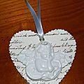 Coeur & ange blanc et ivoire