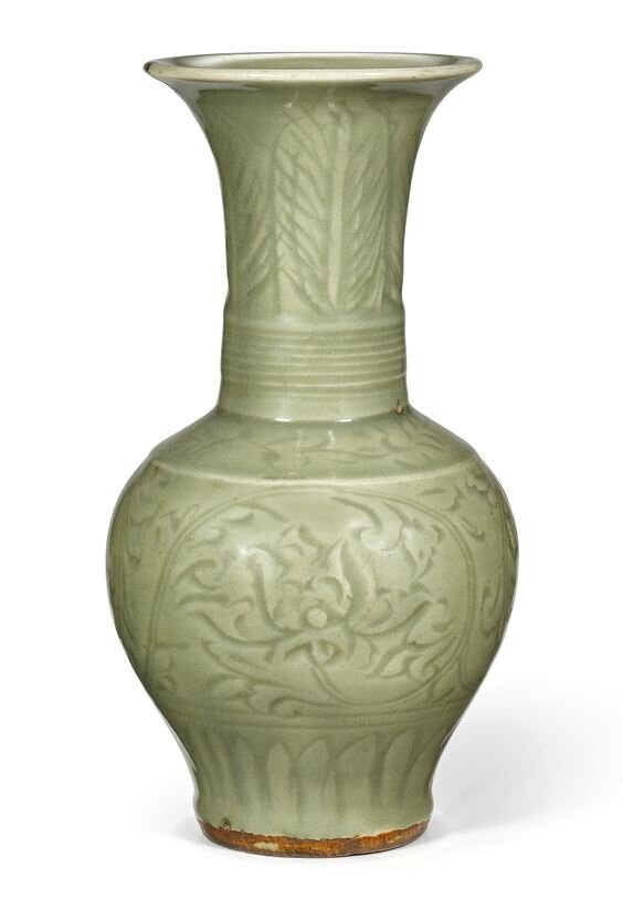A carved 'Longquan' celadon-glazed vase, Yuan – Early Ming dynasty