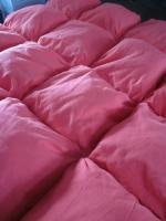 Edredon 20 coussins en drap ancien teinté rouge corail - doublure coton gris anthracite (1)