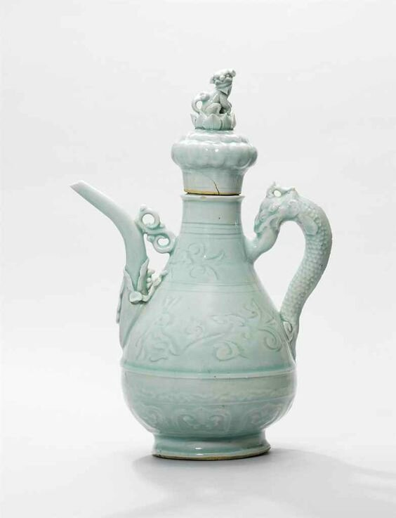 A rare Qingbai moulded and carved 'rabbit' ewer and cover, Yuan dynasty (1279-1368)