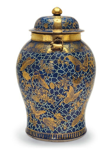 An unusual massive blue-ground baluster jar and cover, 18th century