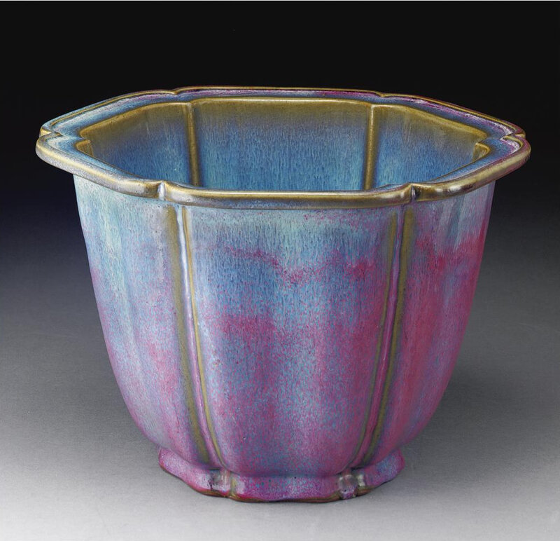A magnificent and very rare 'jun' mallow-shaped lavender-glazed flowerpot, Early Ming dynasty