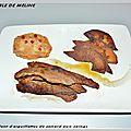 Croustillant d'aiguillettes de canard aux coings