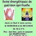 Soins de guérison spirituelle à ouffet 30/09 et 18/11/2018