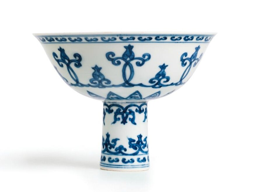 A very rare blue and white stembowl with formal motifs, Mark and period of Zhengde