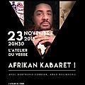 Jann halexander 'afrikan kabaret' 23 novembre à l'atelier du verbe, dernière date parisienne