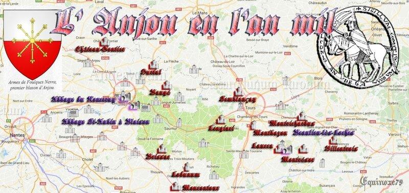 An Mil - Carte des Châteaux de l' Anjou sous Foulque Nerra