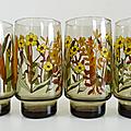 Vaisselle vintage ... grands verres fumés * fleurs