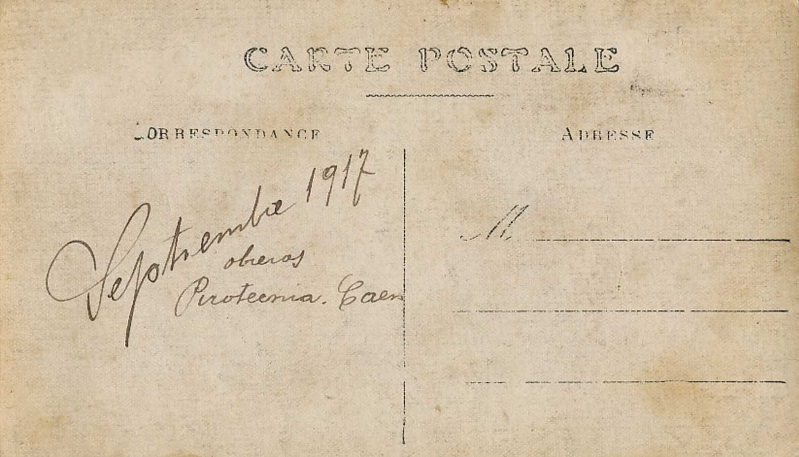 Caen, Pyrotechnie, ouvriers, septembre 1917, verso