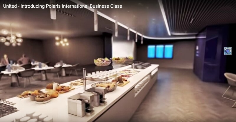 United Airlines Business Cabin Promotional Full Hot Buffet Polaris Lounge