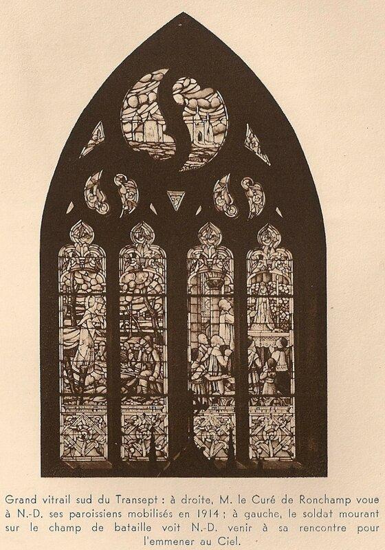 CPA Ronchamp Notre-Dame du Haut 1930 Transept Vitrail sud